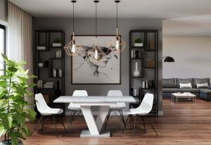 Rozkladací stolík BLOK, 120-160x75x80, bialy/betón