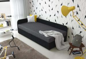 Čalúnená posteľ QUATTRO + rošt + matrac, 80x200, Sawana05/14, ľavý roh