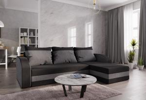 Rohová rozkládacia sedačka WELTA, 235x72x140, čierná/šedá, mikrofáze04/10