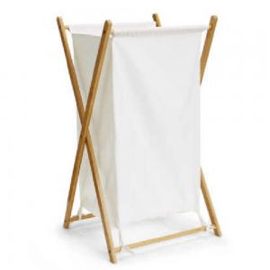 Kôš na bielizeň, lakovaný bambus/biela, AVELINO