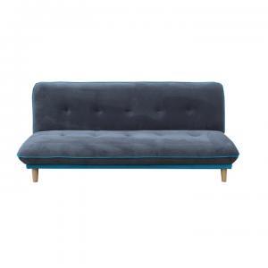 Rozkládací pohovka, šedá / modrá látka, dřevo natural, ELMO 0000189906 Tempo Kondela