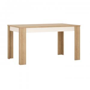 Jedálenský stôl rozkladací LEONARDO LYOT03 dub riviera / biela Tempo Kondela