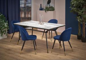 Jedálenský stôl GLAMOUR mramor / čierna Halmar