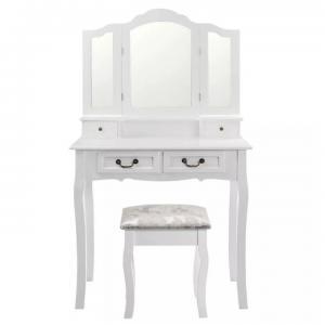 Toaletný stolík s taburetom REGINA NEW biela / strieborná Tempo Kondela