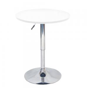 Barový stôl s nastaviteľnou výškou, biela, BRANY NEW