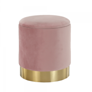 Taburet, ružová Velvet látka/gold chróm-zlatá, ANIZA
