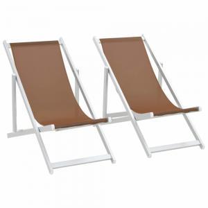 Skladacia plážová kreslá 2 ks hliník / textilen Hnedá