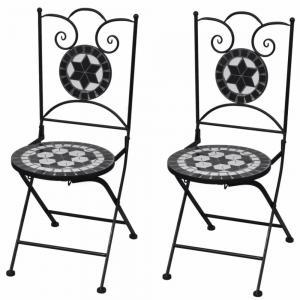 Záhradná skladacia stolička 2 ks Čierna