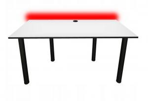 Počítačový herný stôl CODE BIG B2 s LED, 160x73-76x80, biela/čierne nohy