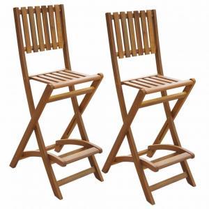 Skladacia vonkajšie barové stoličky 2 ks hnedá