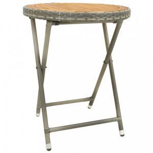 Záhradný čajový stolík polyratan Dekorhome Hnedá / sivá