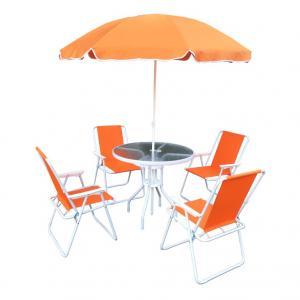 Záhradný set 4+1 so slnečníkom ODELO oranžová / biela Tempo Kondela