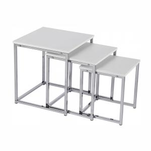 Set 3 konferenčných stolíkov, biela matná/chróm, MAGNO TYP 3, rozbalený tovar