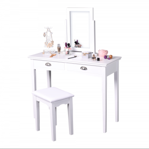 Toaletný stolík s taburetom, toaletka, biela, RESINA, rozbalený tovar