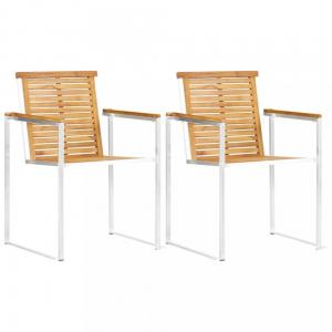 Záhradné stoličky 2 ks hnedá / strieborná Dekorhome