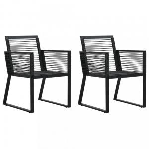 Záhradné polyratanové stoličky 2 ks čierna Dekorhome