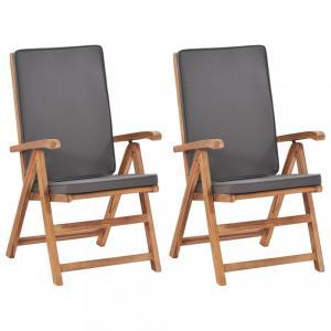 Polohovacie záhradné stoličky 2 ks teakové drevo Dekorhome Sivá