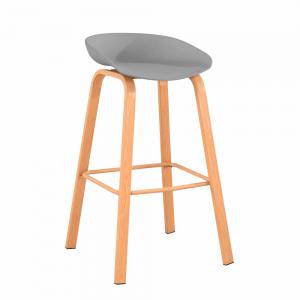 Barová stolička, sivá/prírodná, BRAGA