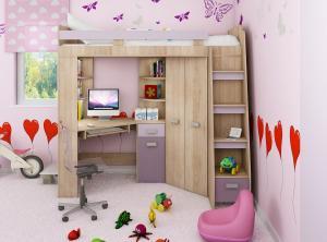 MEBLOCROSS Antresola P zostava do detskej izby sonoma svetlá / levanduľa / fialová