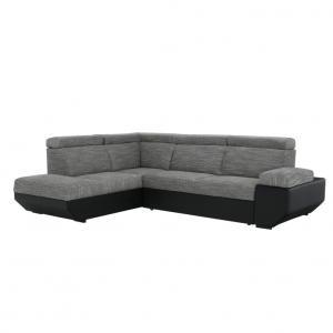 TEMPO KONDELA Akron L rohová sedačka s rozkladom a úložným priestorom čierna / melírovaná