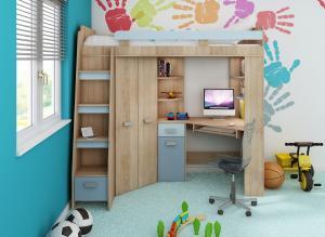 MEBLOCROSS Antresola L zostava do detskej izby sonoma svetlá / belasá / modrá