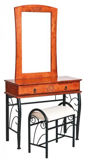 SIGNAL 1102 rustikálny toaletný stolík so zrkadlom čerešňa antická / čierna