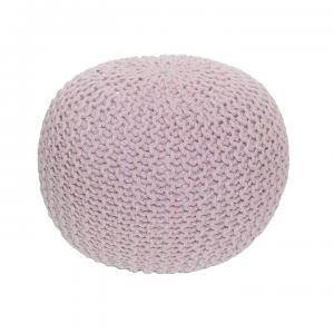 TEMPO KONDELA Gobi Typ 1 pletená taburetka púdrová ružová