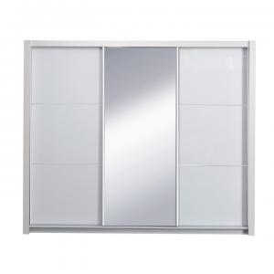 TEMPO KONDELA Asiena šatníková skriňa 258x213 cm biela / biely vysoký lesk