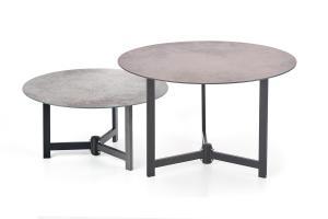 HALMAR Twins okrúhly konferenčný stolík (2 ks) hnedosivá / čierna