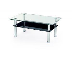 HALMAR Yolanda 103 sklenený konferenčný stolík priehľadná / čierna