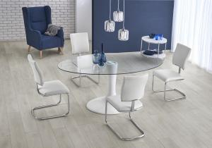HALMAR Coral sklenený jedálenský stôl priehľadná / biely lesk