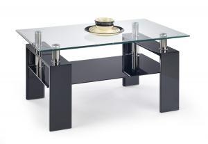 HALMAR Diana H sklenený konferenčný stolík čierny lesk / priehľadná