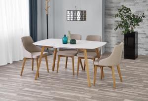 HALMAR Kajetan 150/200 rozkladací jedálenský stôl biely lesk / dub medový