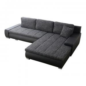 TEMPO KONDELA Toniks L/P rohová sedačka s rozkladom a úložným priestorom čierna