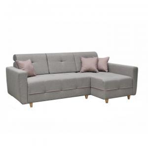 TEMPO KONDELA Hakan P rohová sedačka s rozkladom a úložným priestorom sivá / púdrová ružová