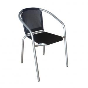TEMPO KONDELA Kerta záhradná stolička čierna / strieborná