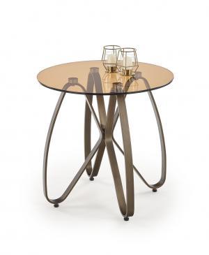 HALMAR Lunga okrúhly konferenčný stolík hnedá / zlatá