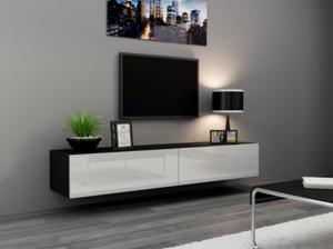 CAMA MEBLE Vigo 180 tv stolík na stenu čierna / biely lesk