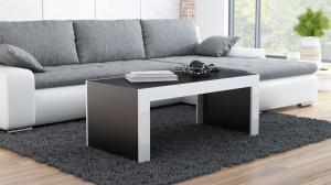 CAMA MEBLE Tess konferenčný stolík čierna / biely lesk