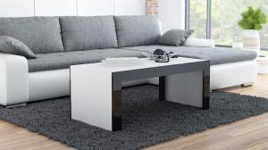 CAMA MEBLE Tess konferenčný stolík biela / čierny lesk