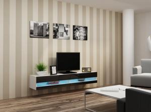 CAMA MEBLE Vigo New 180 tv stolík na stenu biela / čierny lesk