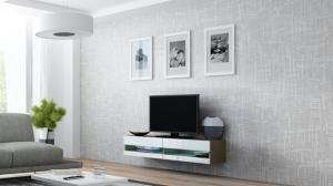 CAMA MEBLE Vigo New 140 tv stolík na stenu latte / biely lesk