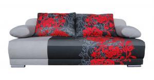 WIP Zico rozkladacia pohovka s úložným priestorom kvety červené / suedine sivý