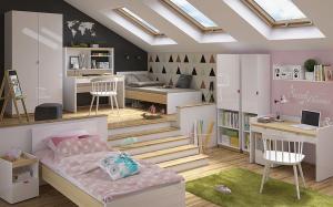 BLACK RED WHITE Pricneton detská izba biely lesk / dub poľský / zelená / fuksia