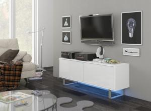 MEBLOCROSS King KIN-01 tv stolík biela / biely lesk