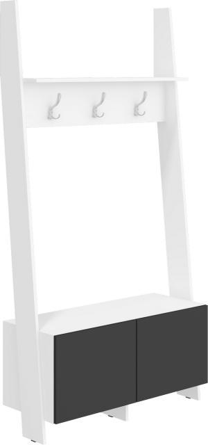 MEBLOCROSS Rack RAC-10 vešiak biela / čierny lesk