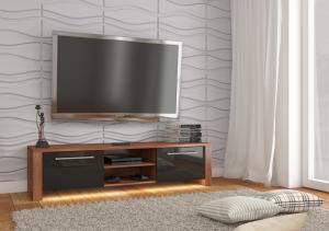 MEBLOCROSS Helix New tv stolík slivka / čierny lesk