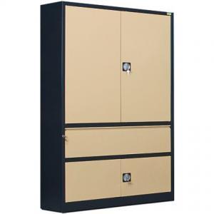 NABBI SB 1200 01 kovová kancelárska skriňa s vystuženými dverami antracit / béžová