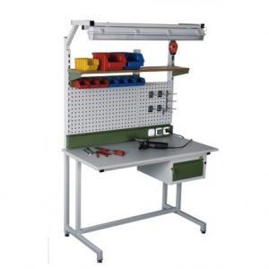 NABBI 06-239 montážny stôl s nadstavbou a osvetlením svetlosivá / zelená