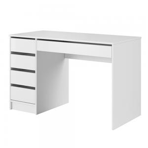 Toaletný stolík/písací stôl, biela/biely lesk, DAKOTA